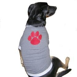 China Dog toys Grey Fleecy Dog T-shirt with Big Red Paw Applique (matching dog cap available!) on sale