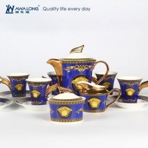 China royal design painting fine bone china coffee set, bread bin biscuit tea coffee sugar canister set on sale