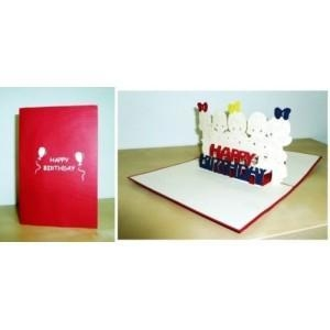 China BIRTHDAY KIDS Laser Cutting Paper Pop Up Greeting Card on sale