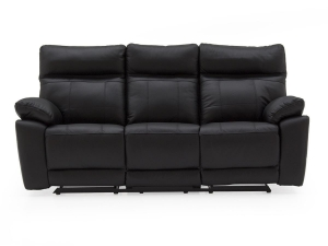 China Leather Sofas Positano 3 Seater Recliner - Black on sale