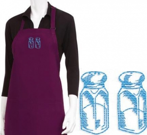 China Chef aprons Salt and Pepper Embroidered Apron on sale