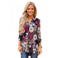 China Dark Blue Blossom Print Slight V Neck Blouse Item NO: LC250318-105 on sale