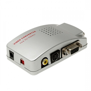 China VGA to TV AV Composite RCA S-Video Convertor Box Adaptor for Computer Laptop PC MAC Monitor-Silver on sale