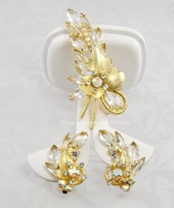 China Unsi Opulent Vintage DELIZZA and ELSTER Rhinestone and Glass Demi- parure on sale