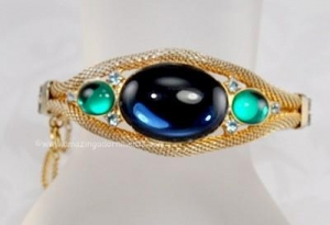 China Unsi Incredible Vintage Glass, Rhinestone and Mesh Bracelet on sale