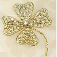 Vintage CALVAIRE Colossal Crystal Rhinestone Clover Brooch