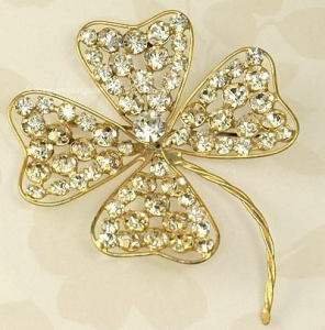 China Vintage CALVAIRE Colossal Crystal Rhinestone Clover Brooch on sale