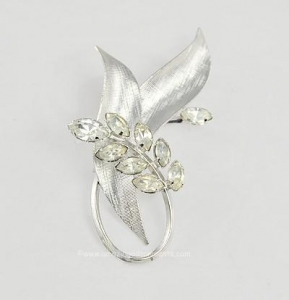 China Refined Vintage Sterling and Rhinestone Floral Spray Brooch Signed STAR ART on sale