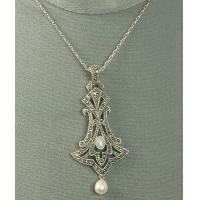 China JUDITH JACK Sterling and Marcasite Art Nouveau Style Pendant Necklace on sale