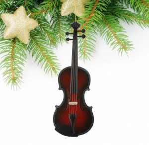 Quality Miniature black and red violin christmas tree decoration Musical Instrument for sale