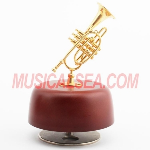 China Wholesale Euphonium model miniature metallic music box and custom spinning music box for crafts on sale
