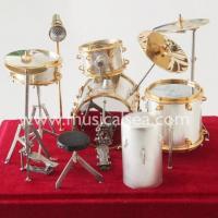 Silver miniature Drum set ornament musical instrument gift Musical Instrument