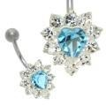 China Crystal Jewelled Blue Heart Belly Button Bar on sale