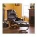China Benches SEI Cafe Brown Leather Recliner and Ottoman on sale