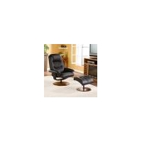 China Benches SEI Black Leather Recliner and Ottoman on sale