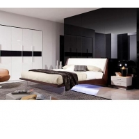 China Volterra - Contemporary Floating Bed With Lights Bedroom Furniture on sale