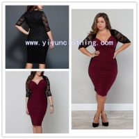 Lace red lady fashion plus size clothing newest