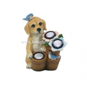 China Vintage Small Resin Dog Figurines With Solar Lights on sale