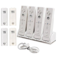 CommonByte Quad Charger Charging Dock Station + 4 Rechargeable Battery For Nintendo Wii
