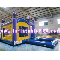 Snow White And The Dwarf Inflatable Bouncer Castle In PVC Net Clamping Cloth