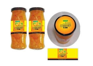 China Yellow Coated Paper Printed Self Adhesive Labels For Glass Bottle Canned Fruit on sale