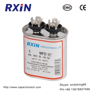 China Oval Type CBB65 Dual Explosion Proof Air Conditioner Compressor Oil Filled Capacitor on sale