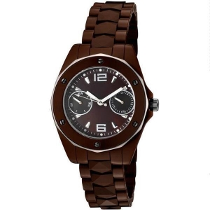 China Stylish Stainless Steel Bezel Brown Band Quartz Ceramic Wrist Watches for Ladies on sale