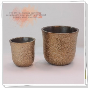 China Cement decoration pot Metallic cement planter on sale