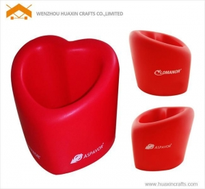China PU heart shape pen holder on sale