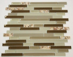 China Vintage Resin Shell Mosaic Tile Brick Pattern Green Glass Mosaic Kitchen Wall on sale