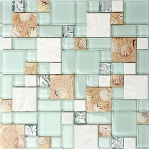 China Resin White Lip Pearl Aqua Shell Mosaic Tile Mix Beach Conch For Glass Countertop on sale