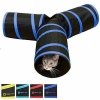 China Tunnel of Fun, Collapsible 3-way Cat Tunnel Toy with Crinkle Medium, Dark Blue for sale