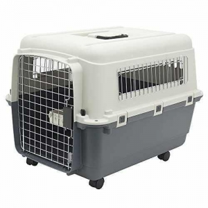 China Plastic Kennels  Rolling Plastic Airline Approved Wire Door Travel Dog Crate, Medium on sale
