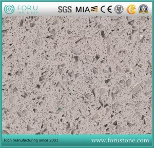 China Crystal Light Grey Mirror Quartz Slabs for Bench Top, Backsplashes Shower , Stalls Tub Surrounds on sale