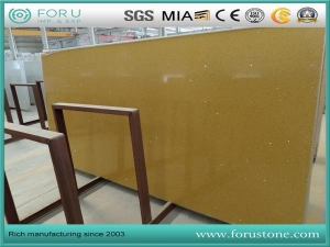 China Crystal Yellow Artificial Quartz Slabs for Quartz Laundry and Bar Tops from Factory In Agent Cost on sale