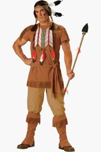 China Male Red Indian Fancy Dress Costume With Brown Suede-Effect Fringed Tunic and Beaded Neck on sale