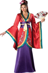 China Japanese Geisha-Style Costume With Red Satin Floral Tie Kimono and Purple Maxi Dress on sale