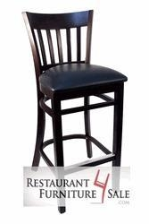 China Classic Wooden Restaurant Bar Height Chair - Walnut Finish with Black Vinyl Seat on sale