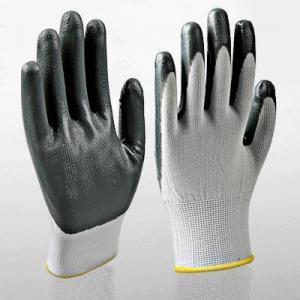 China Safety Gloves nitrile palm coated gloves Nylon Knitted Nitrile Coated Safety Gloves on sale