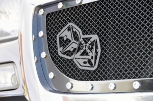 China Parts for BMW Z4 T-Rex X-Metal The Hustler Dice Grille Badge - Black - 6701011 on sale