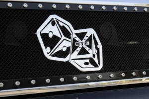 China Parts for BMW Z4 T-Rex X-Metal The Hustler Dice Grille Badge - Chrome - 6701022 on sale