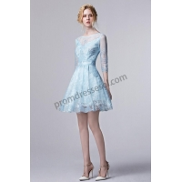 China Rose 2016 Spring Sky Blue/Pink Shiny Lace Half Sleeve Cocktail Dress S1313 on sale