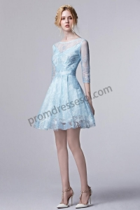 China Rose 2016 Spring Sky Blue/Pink Shiny Lace Half Sleeve Cocktail Dress S1313 on sale