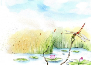 China Sound Insulation Bamboo Fiber Wall Panels Dragonflies Lotus Flowers In Pond on sale