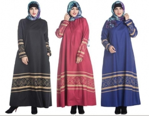 China Plus Size Long Sleeve Islamic Dress on sale