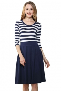 China 3/4 Sleeve Stripe Patchwork Pleated Dress Blue White on sale