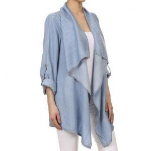 China Roll Tab Drape Open Front Denim Cardigan Coat Women on sale