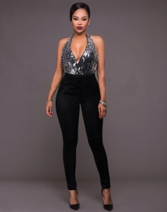 China Halter Neck Backless Skinny Club Sequin Jumpsuit Black on sale