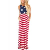 China American Flag Sleeveless Casual Maxi Dresses with Pocket Design Summer Patriotic Beach Tank Dresses on sale