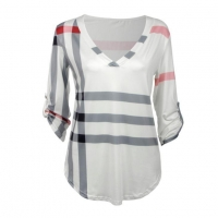 3/4 Sleeve V Neck Ladies Striped Blouses for Work Chic Plus Size Plaid Print Tops